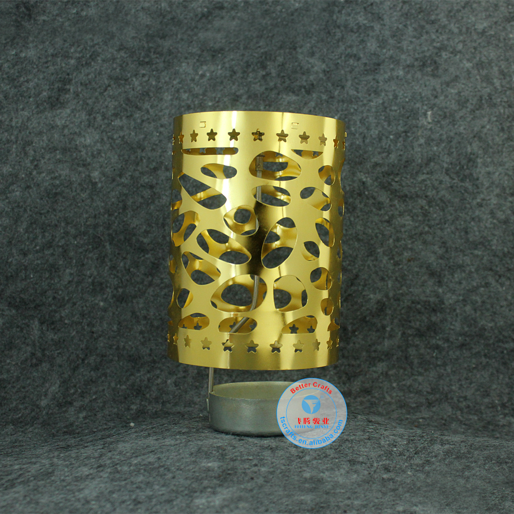 Hot selling custom printing <strong>logo</strong> varies shaped metal rotating spinning tea light candle holder
