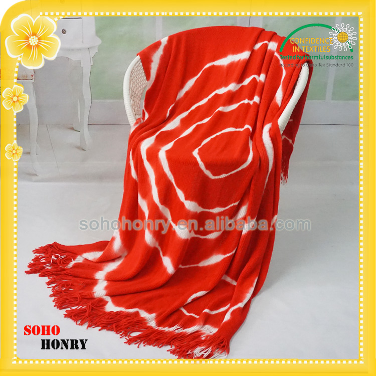 Fashionable Tie-dyed Knitted Office Nap Blanket With Tassel Ladies Fashion Pashmina Shawl