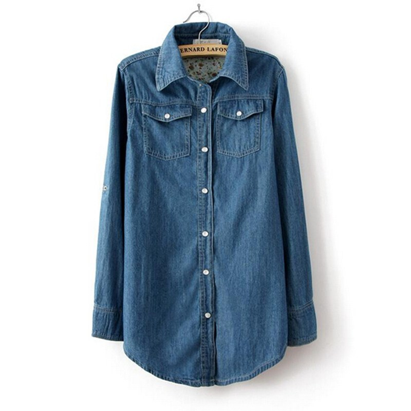 5aa72cef Get Quotations · Free Shipping 2015 Women Blouse Autumn Shirts Plus Size  Long Sleeve Denim Cotton Jeans Shirt Casual