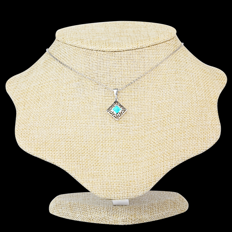 925 Silver Large Opal Pendant Gemstone Necklace