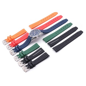 20mm 21mm Soft Sport Curved Silicon Watch Strap Rubber Watchband