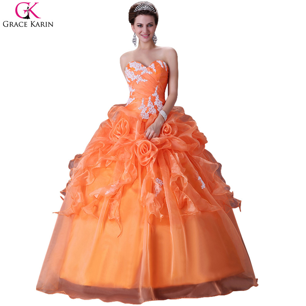 Elegant Grace Karin Lace Up Vintage Design Puffy Orange Quinceanera Dresses Ball Gowns Sweet 16 Princess Dress Cheap 2015 CL2518