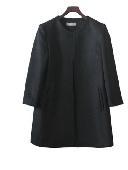 пальто для женщин осень 2015 новая корея стиль женщины шею крытая кнопка твердые шерстяное пальто куртки