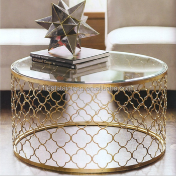Fashionable Gold Round Laser Cutting Stainless Steel Coffee Table