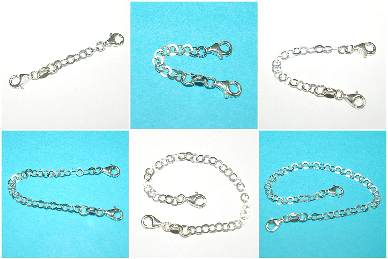 Chain EXTENDER with Two Lobster Claw Clasps Genuine 925 Sterling Silver 4mm Flat Round Chain - Many Lengths - Handmade