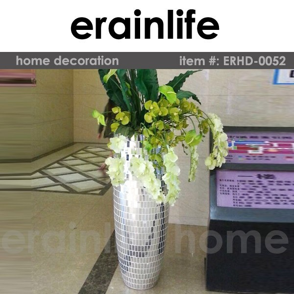 home decoration resin flower vase with mosaic tiles