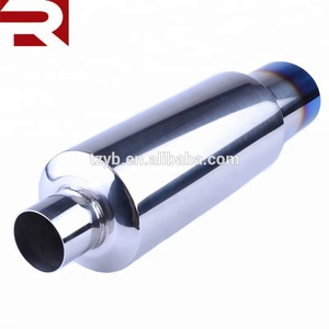 Performance 2inch Inlet 3inch Outlet Titanium Burnt Tip Car Exhaust Muffler
