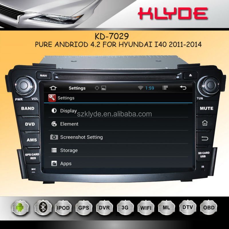 car radio for hyundai i40 With Capacitive Multi-touch Screen Android 4.2