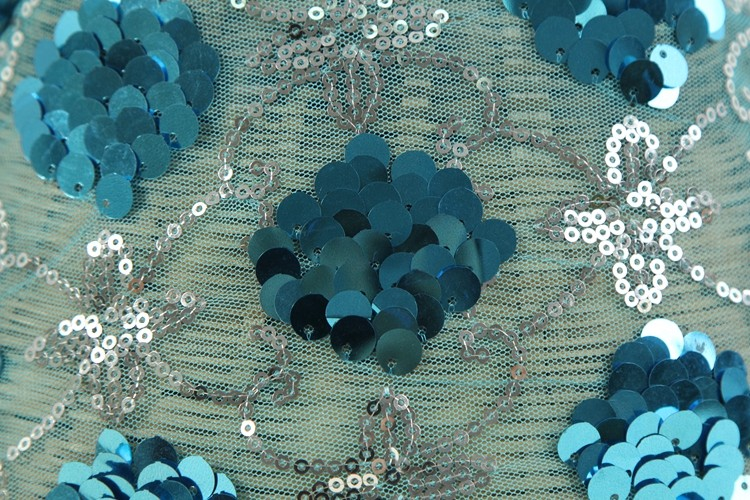 China textile polyester mesh embroidery lace paillette sequin fabric for evening dress