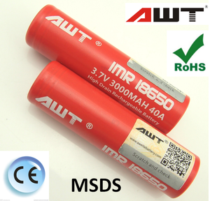 High quality! awt 18650 40a 3000mah 3.7v rechargeable battery for electronic cigarette second hand smoke eagle vaporizer