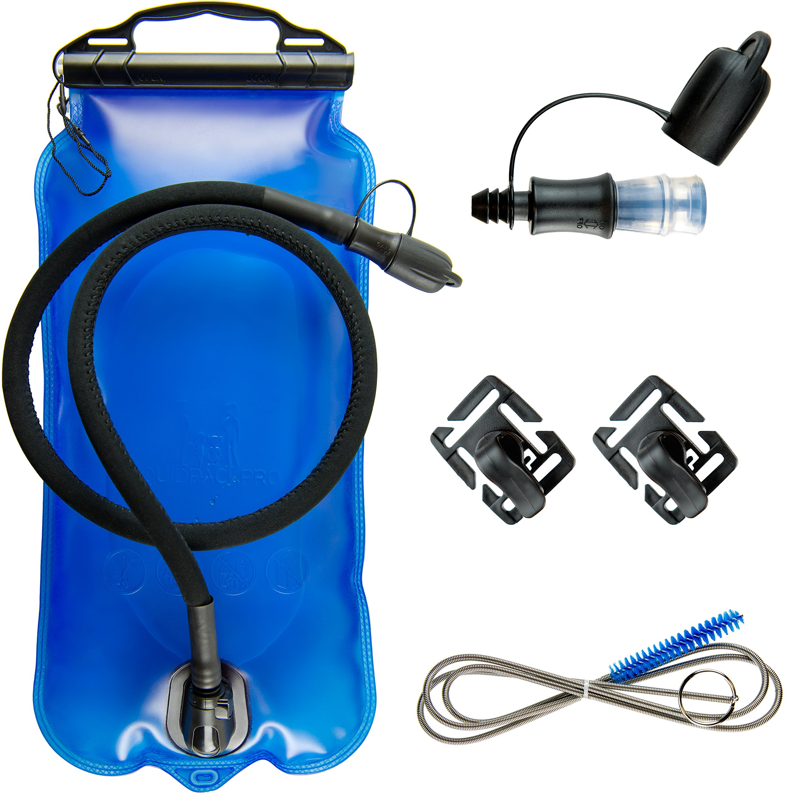 Large Opening Water Bladder Bag with Quick Release Insulated Tube MATT SAGA Hydration Bladder Blue. BPA Free Hydration Pack Replacement 1.5L 2L 3L Leak Proof Water Reservoir for Outdoor Sports