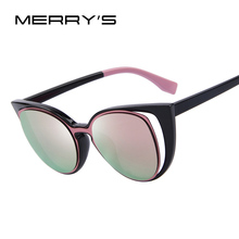 0c3656db82235 MERRY S Moda Olho de Gato óculos de Sol Das Mulheres Designer De Marca  Retro Perfurado
