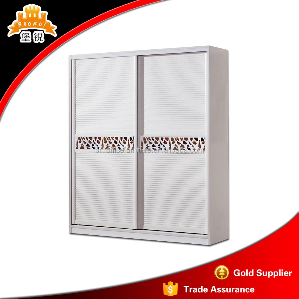barato pared blanca de acero puerta corredera armario dormitorio