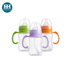 FDA food grade PP baby feeeding bottle 160ml 240ml with straw handle BPA free OEM