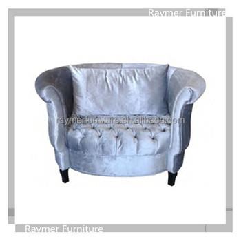 Silver Velvet Tufted Upholstered Round Sofa Classic Tub Chair