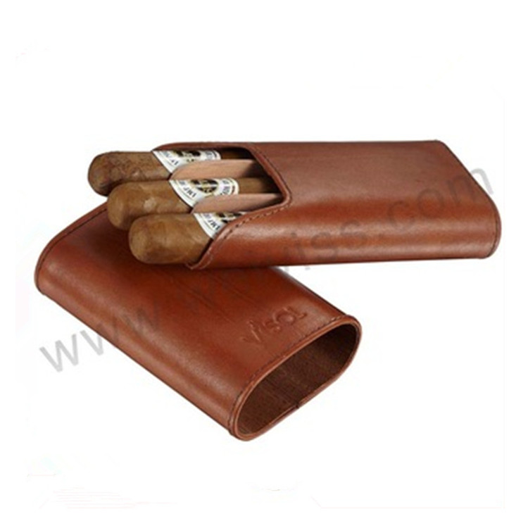 Black Leather Cigar Case with Interior Cedar Lining hot sale