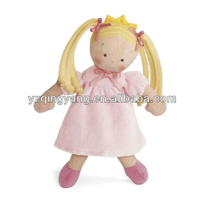 New design people toy cute and beautiful sutffed plush young girl toy with long golden hair