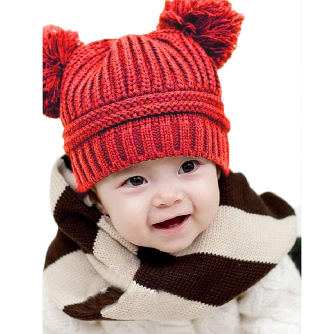 bbb104976b8 Get Quotations · DKmagic Cute Baby Kids Girls Boys Dual Balls Warm Winter  Knitted Beanie Cap Hat (Red