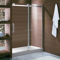 X02P Popular Custom Made Sliding Shower Screen With SUS304 Stainless Steel Top Rail & Rollers
