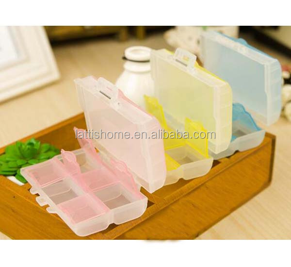 Promotional plastic fashional cut new design medicine storage pill box In 6 case