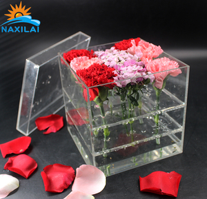 Naxilai Luxury Acrylic Flower Box Acrylic Preserved Flower Box For 9 Roses Display
