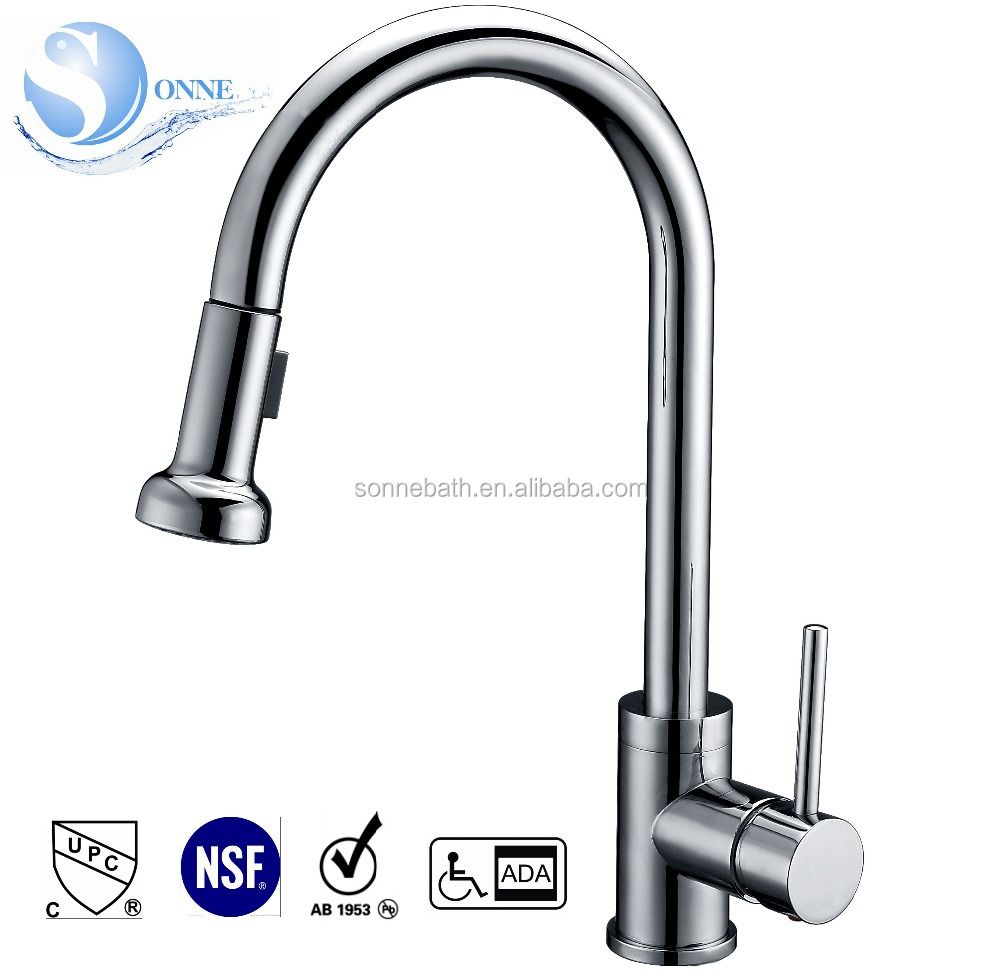 Chrome, Brushed Nickel, ORB 1-Handle cUPC CSA NSF AB1953 WaterSense Pull-out Kitchen Faucet WE-7004C