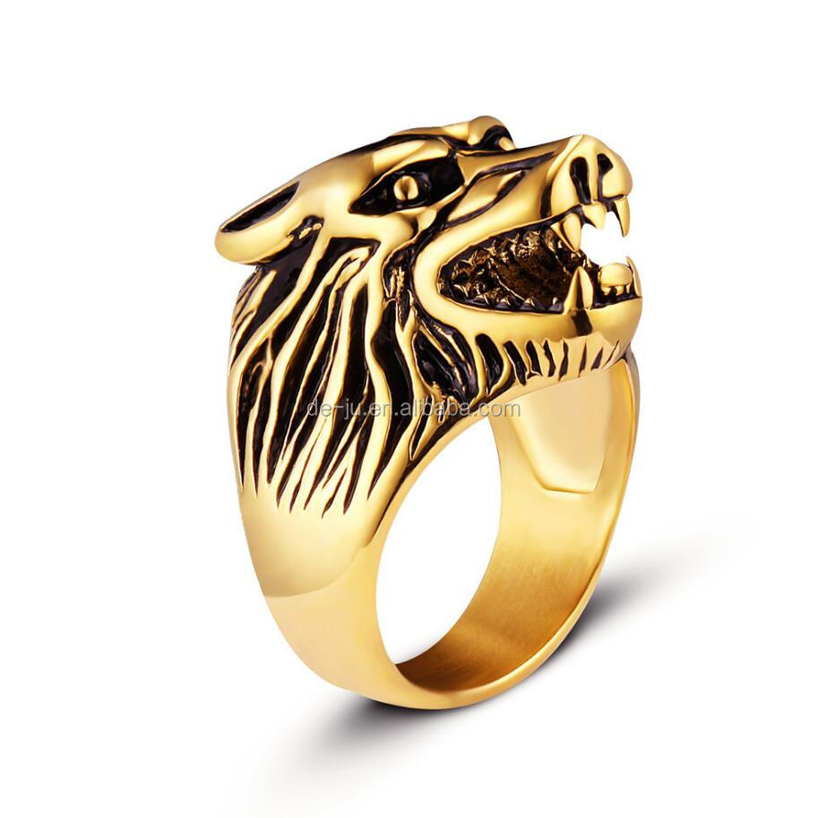 Wolf Head Dominance Punk Men Ring