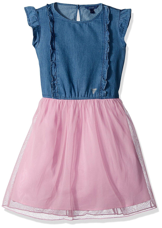 GUESS Big Girls' Sleeveless Denim and Mesh Tulle Dress