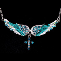 Unique punk style enamel angel wings necklace crystal jewelry