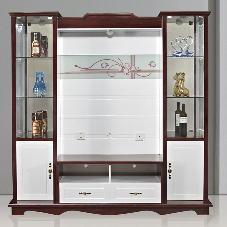 Shx modern corner tv cabinet with showcase tv lcd wooden for Wall hanging showcase designs