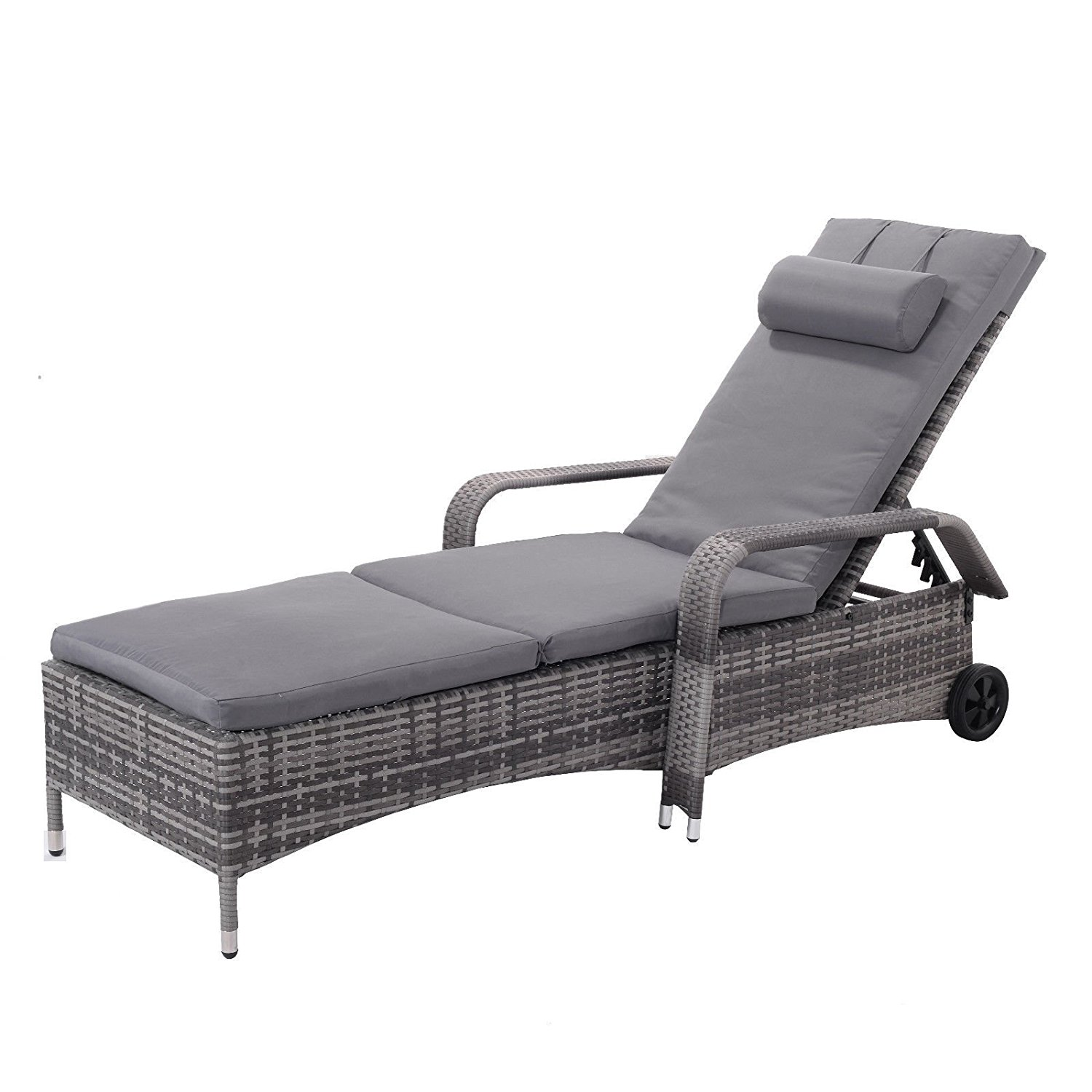 Sarutaya Chair Adjustable Outdoor Lounge Chaise Patio Recliner Pool Furniture Beach Reclining Garden Cushion Folding Bed