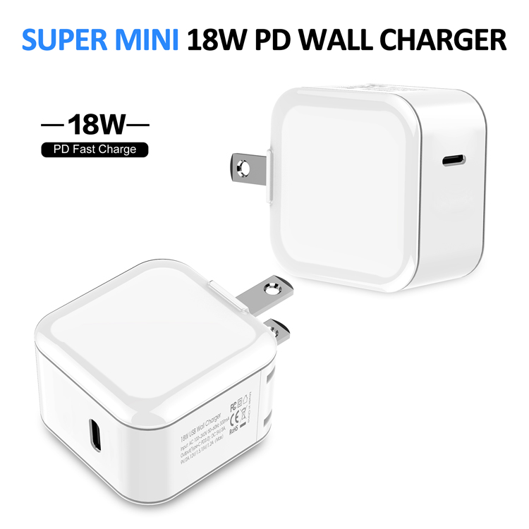 18W USB-C PD wall charger, USB home charger, Fast PD Adapter Super Compact