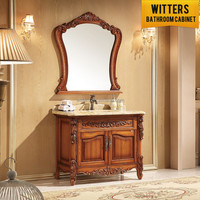 classic brown color country style solid oak furniture bathroom cabinet
