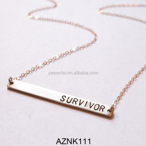 Hot Sale Wholesale Gold Color Custom Letters Survivor Necklace Inspirational Jewelry