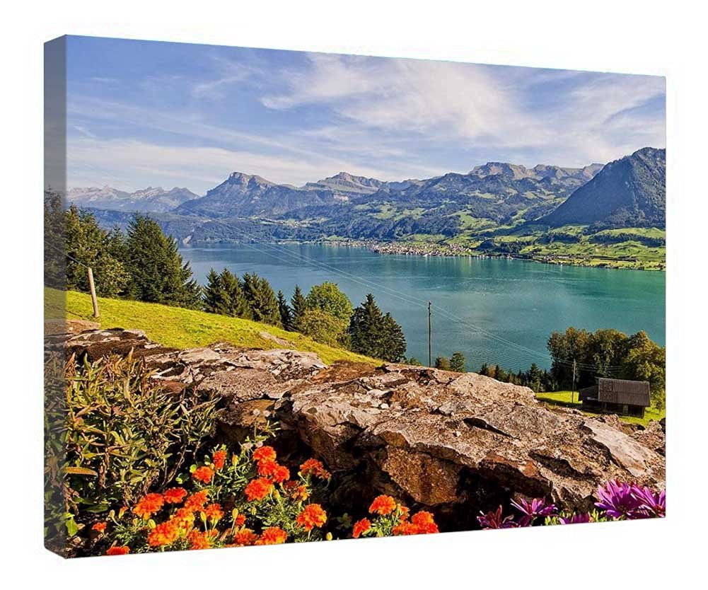 "LeeQueen Canvas Prints Wall Art - Beautiful Lake In Switzerland - Wood Board Background Stretched Canvas Wrap Ready to Hang for Home and Office Decoration - 24"" x 16"""