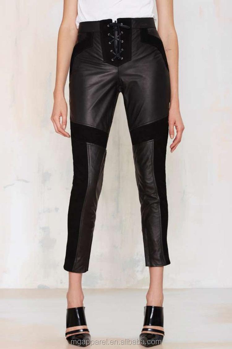 9a26cad0fc 2015 moda y fresco parches de gamuza celosía empate cuero moto pantalones  para mujer-Negro