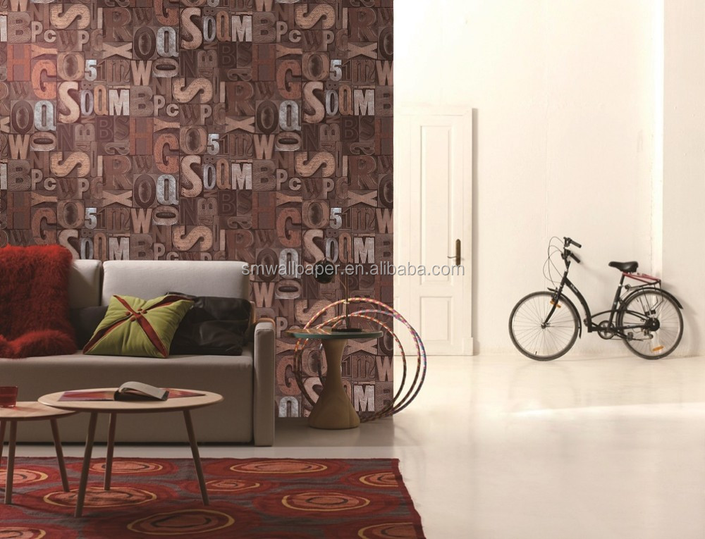 2016 popular latest wallpaper design pvc vinyl wall covering 3D effect  wallpaper
