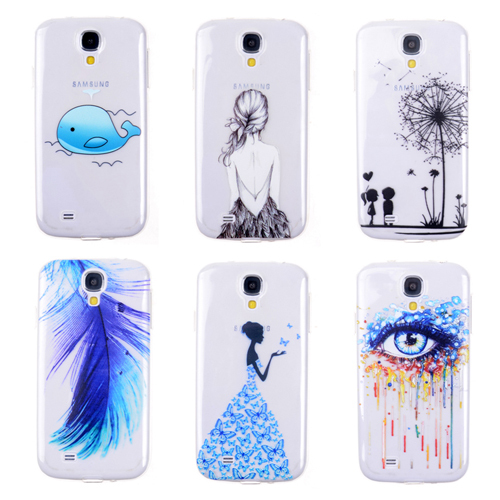 online retailer 69256 06684 Free shipping Phone Cases Cover for Samsung Cases Galaxy S4 Ultra Thin  Transparent Soft TPU Color Painted Back Phone Protector