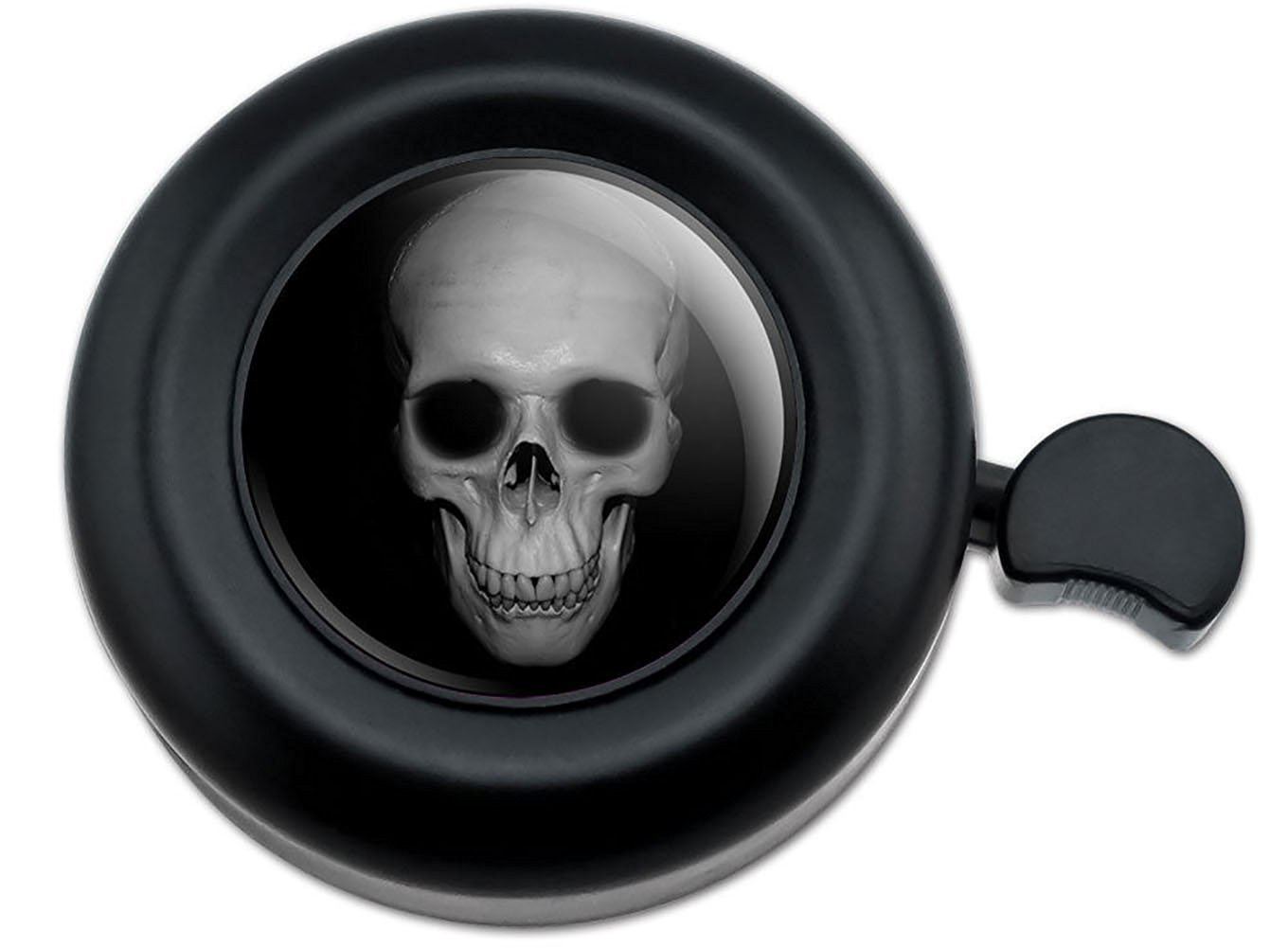 Cool and Custom {Fully Adjustable to Fit Most Bikes} Bicycle Handlebar Bell Made of Hard Metal with Realistic Skull Design {Black and Gray Colors}
