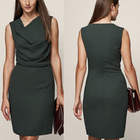 good quality women office wear olive color slim sleeveless cowl neck shift dress