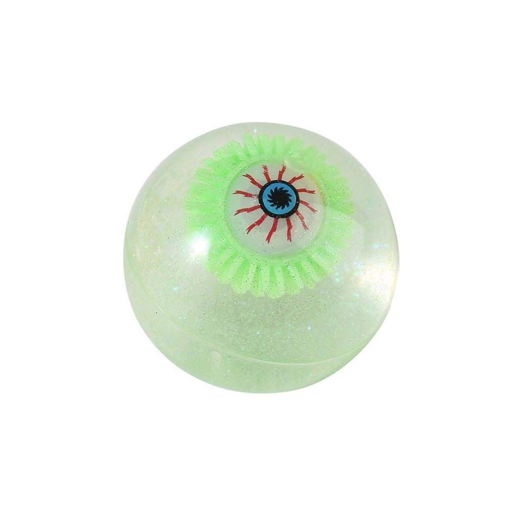 Gbell Glow in Dark LED Ball Hairy Eyeball Gift with Battery for Kids Adults,7.5CM,Assorted Green,Pink,Orange,Blue (Green)