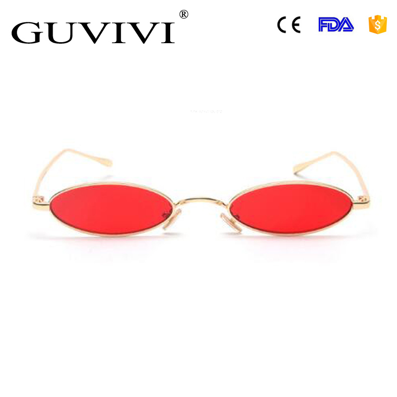 GUVIVI CE&FDA oval Steampunk Sunglasses for men male Metal frame yellow red vintage small round <strong>sun</strong> glasses for women 2018
