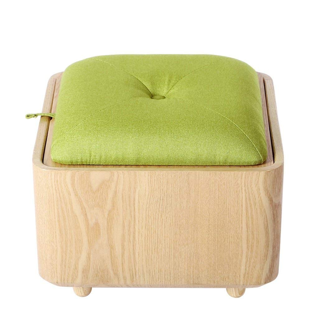 ZAYJD XRXY Creative Solid Wood Simple Footstool/Multifunction Storage Stool/Doorway Change Shoes Stool/Sofa Stool (Color : A-Green)