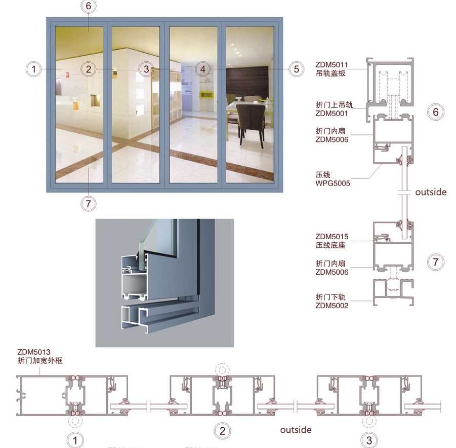 China Supplier Aluminum Glass Doors Bathroom Folding Door/glass ...
