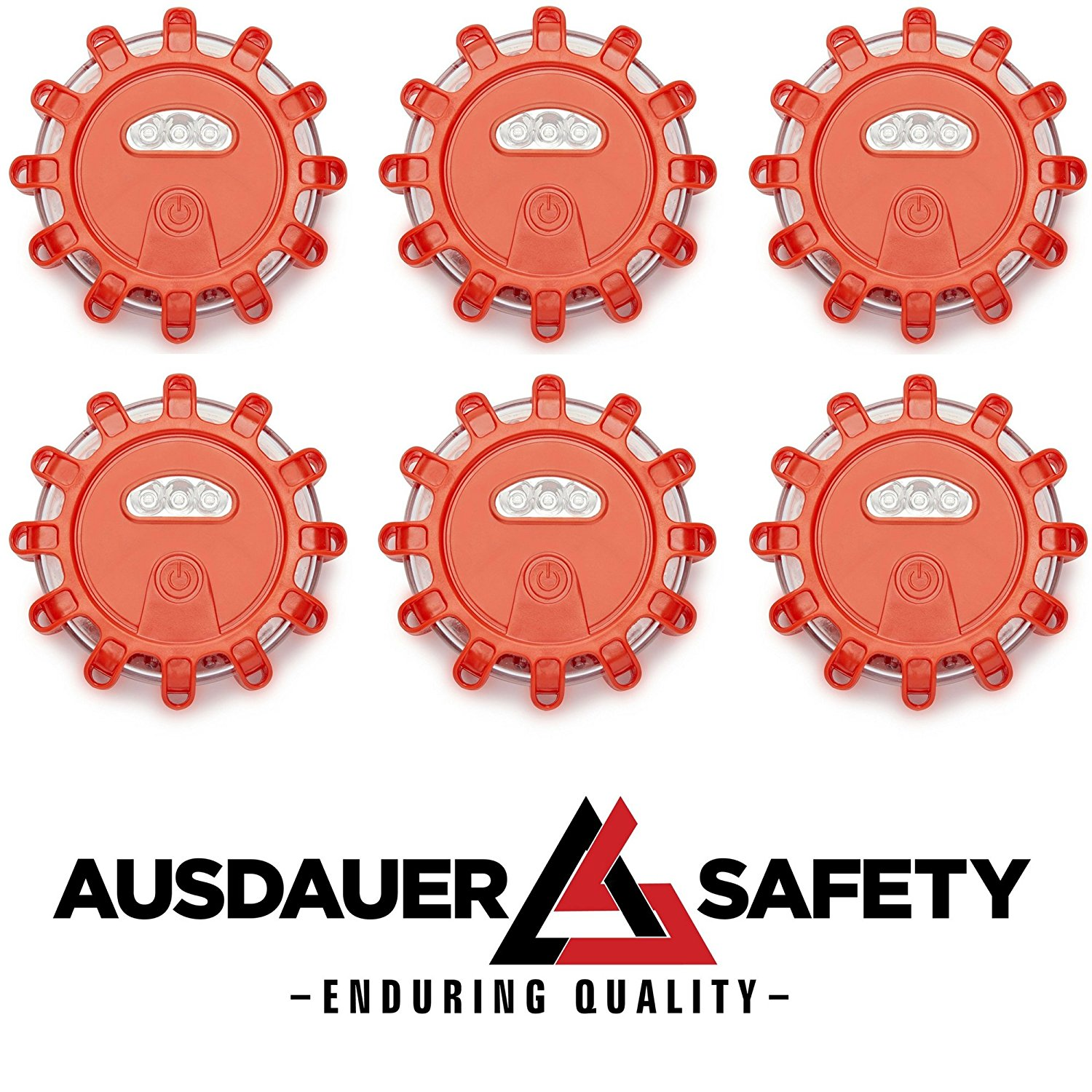 (6 Pack) Red LED Road Flares Emergency Disc Roadside Safety Light Flashing Road Beacon for Auto Car Truck Boat. Ready for 1 OR 2 Vehicles By AUSDAUER SAFETY