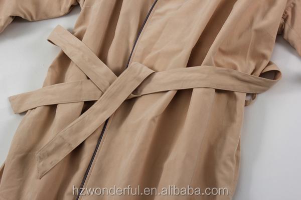 Wholesale hooded microfiber bathrobe khaki double layer with terry ...