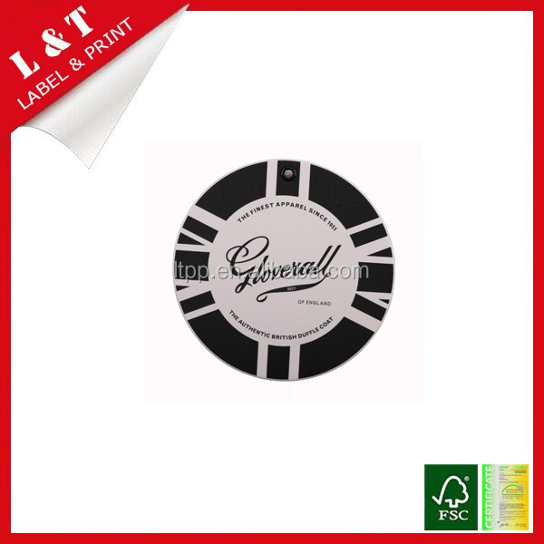 Fashionable round shape paper material clothing hang tag