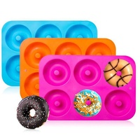 Amazon hot sale 6 Cavity Silicone Donut Baking Pan Non stick Silicone Donut Mold