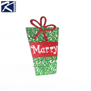 Metal Christmas wall decor hanging glitter gift box decoration