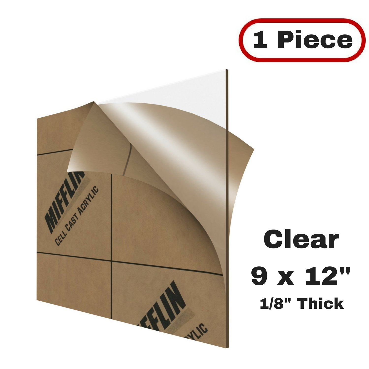 Multipurpose & Ideal For Countless Uses 12''x12'' 1/8 thick Water Resistant & Weatherproof Black Durable AdirOffice Acrylic Plexiglass Sheet